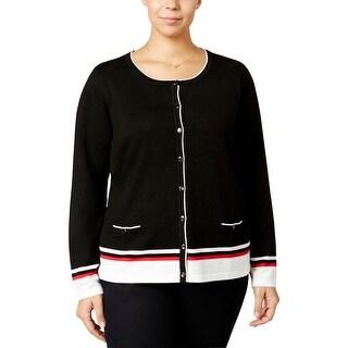 Karen Scott Womens Plus Cardigan Top Long Sleeve Button