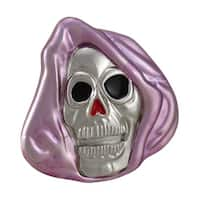 Chrome & Purple Enamel Grim Reaper Skull Belt Buckle