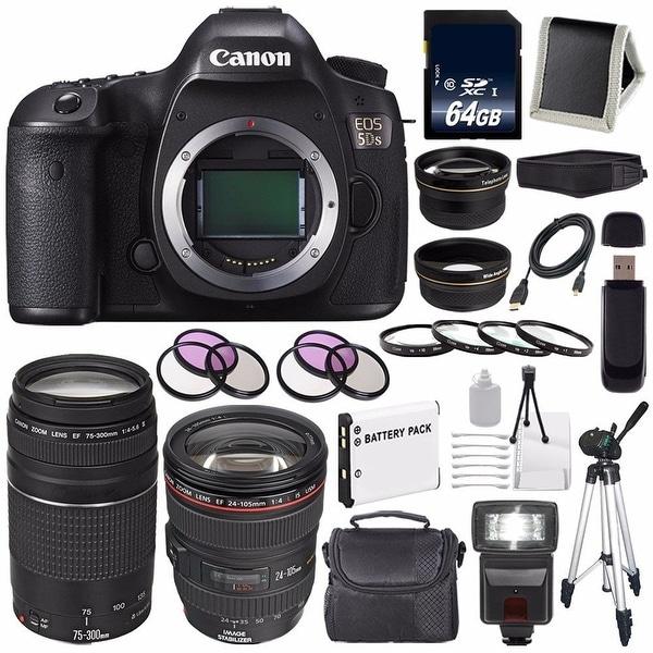 Canon EOS 5DS DSLR Camera (International Model) 0581C002 + Canon EF 24-105mm Lens + Canon EF 75-300 III Bundle
