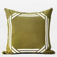 "G Home Collection Luxury Wasabi Green Embroidered Modern Frame Textured Pillow 20""X20"""