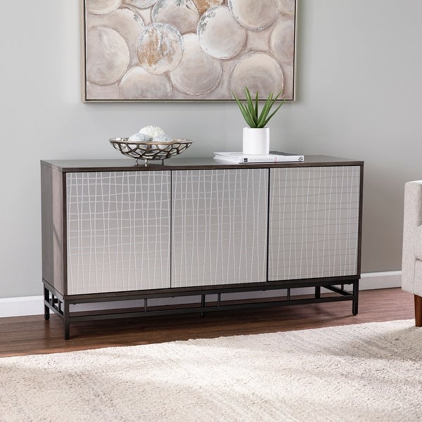 Strick & Bolton Valecrest Contemporary Gray/ Silver Wood Cabinet. Opens flyout.