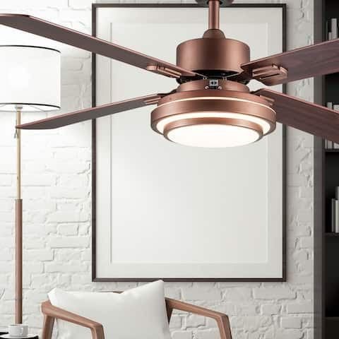 "Brym River of Goods 51-inch LED Integrated Ceiling Fan With Light - 51"" x 51"" x 12.25""/16.25"""