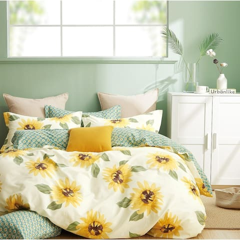 Mia Sunflower 100% Cotton Reversible Duvet Cover Set