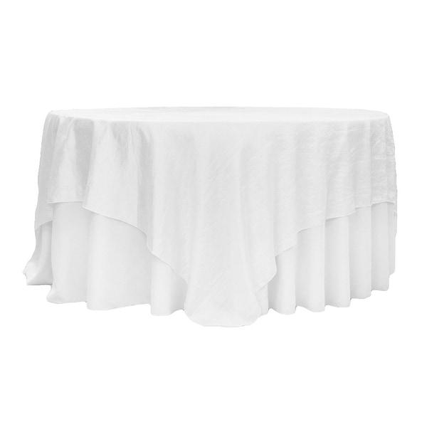 "Crushed Taffeta 90""x90"" Square Table Overlay - White"