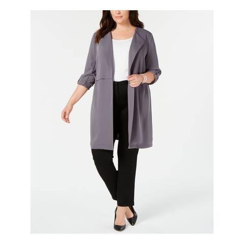 BAR III Womens Gray Jacket Plus Size: 2X