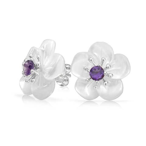 White Mother of Pearl MOP Flower Amethyst Gemstone Accent Stud Earrings For Women 925 Sterling Silver