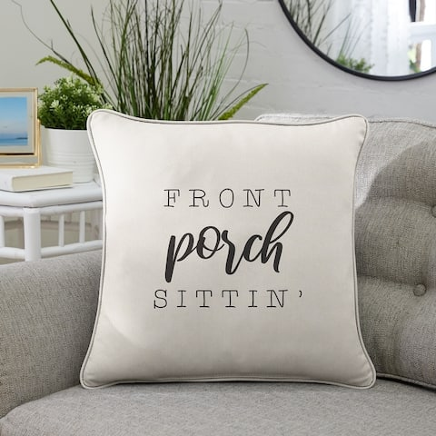 """Sunbrella Indoor/Outdoor Single Embroidered Pillow - """"Front Porch Sittin'"""""""