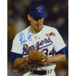 "Nolan Ryan Autographed ""Bloody Lip"" Texas Rangers 8x10 Photo"