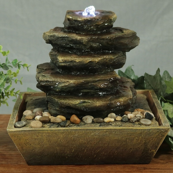 Sunnydaze Cascading Rocks Indoor Tabletop Fountain with LED Lights - 12 Inch