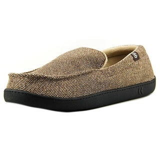 Isotoner Holiday Slippers Men Round Toe Canvas Brown Slipper