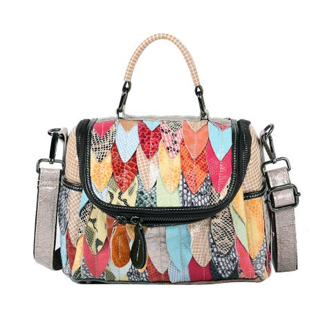 CHAOS BY ELSIE Fall Foliage Theme Genuine Leather Convertible Tote Bag - 11.5x4.5x9 inches