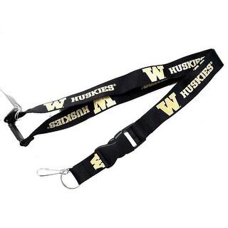 Washington Huskies Clip Lanyard Keychain Id Holder NCAA Black