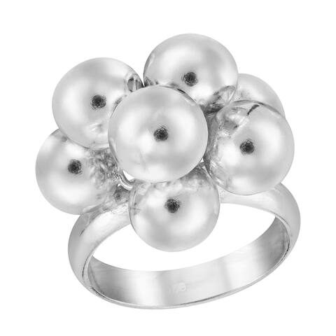 Handmade Retro Statement Sphere Ball Cluster Sterling Silver Band Ring (Thailand)