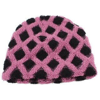 Unique Bargains Rhomb Pattern Ribbed Winter Stretchy Knitting Beanie Cap Pink Black for Women