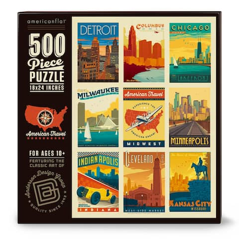 Americanflat 500 Piece Jigsaw Puzzle, 18x24 Inches, American Travel Midwest Art by Anderson Design Group - 18 x 24
