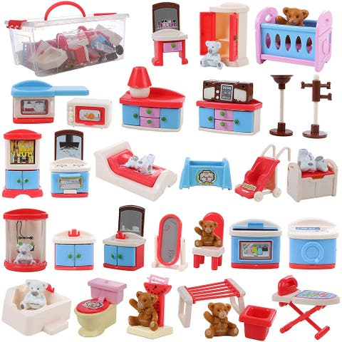 Dollhouse Furniture and Accessory Set, All in one Bedroom, Kitchen, Laundry Room, and Bathroom 46 Piece Mega Set with Container