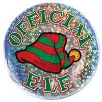 """Club Pack of 12 Shimmering """"Official Elf"""" Christmas Buttons 3.5"""" - green"""