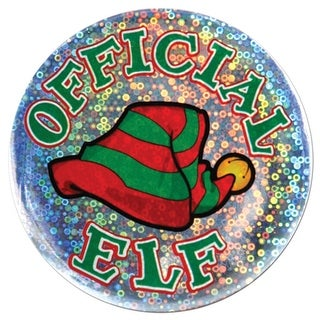 """Club Pack of 12 Shimmering """"Official Elf"""" Christmas Buttons 3.5"""""""