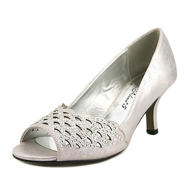 Easy Street Royal Women Peep-Toe Synthetic Silver Heels