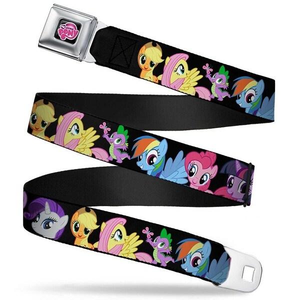 My Little Pony Logo Full Color Black Pink Ponies Close Up Black Webbing Seatbelt Belt