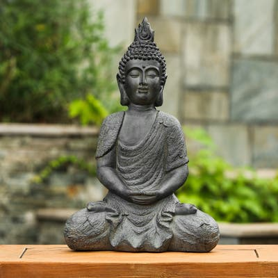Gray MgO 21.7in. H Meditating Buddha Garden Statue