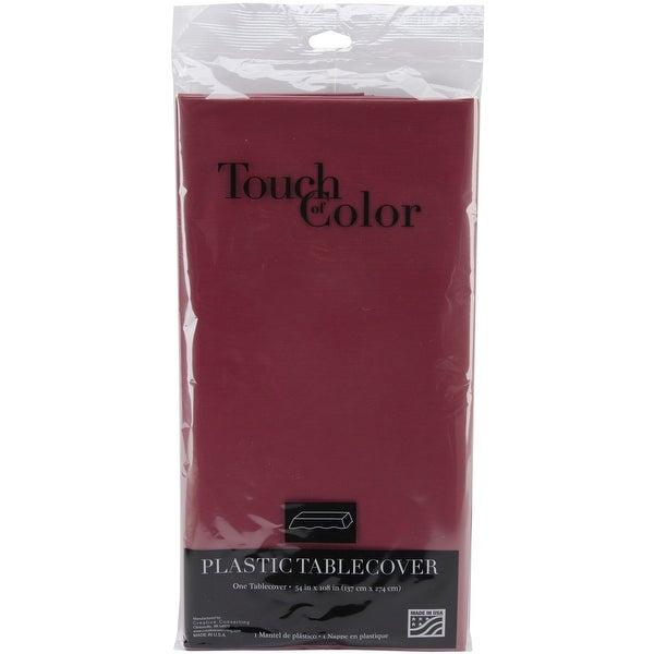 "Plastic Tablecover 54""X108""-Burgundy - burgundy"