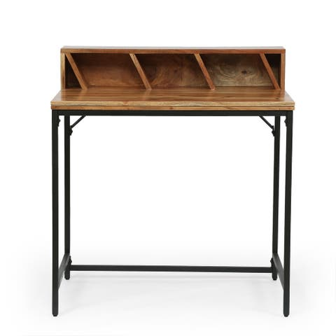 Purvis Indoor Acacia Wood Handcrafted Desk with Hutch by Christopher Knight Home
