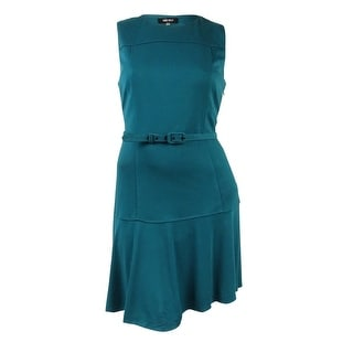 Nine West Women's Belted Sleeveless Solid Dress - 12