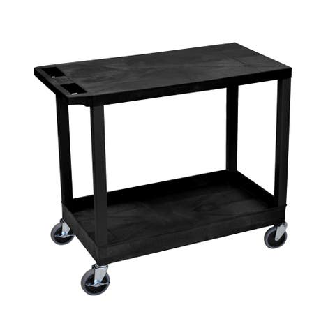 "Offex Rolling 32"" x 18"" Heavy Duty Utility Cart with One Tub/One Flat Shelves - Black"