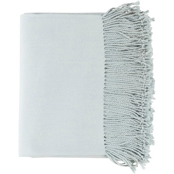 "Pale Blue Gray Silk and Cashmere Fringed Throw Blanket 50"" x 60"""