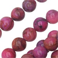 Dakota Stones Gemstone Beads, Pink Crazy Lace Agate, Round 6mm, 8 Inch Strand