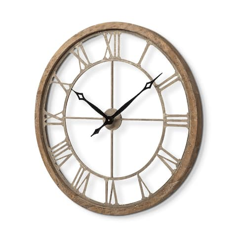 "Mercana Mething Light Brown 31.5"" Large Farmhouse Wall Clock - 2.4L x 31.5W x 31.5H"
