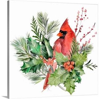 """Cardinal Holly Christmas  I"" Canvas Wall Art"