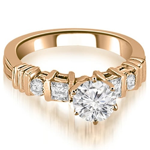 1.04 cttw. 14K Rose Gold Princess And Round Cut Diamond Engagement Ring