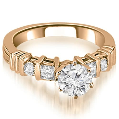 1.54 cttw. 14K Rose Gold Princess And Round Cut Diamond Engagement Ring