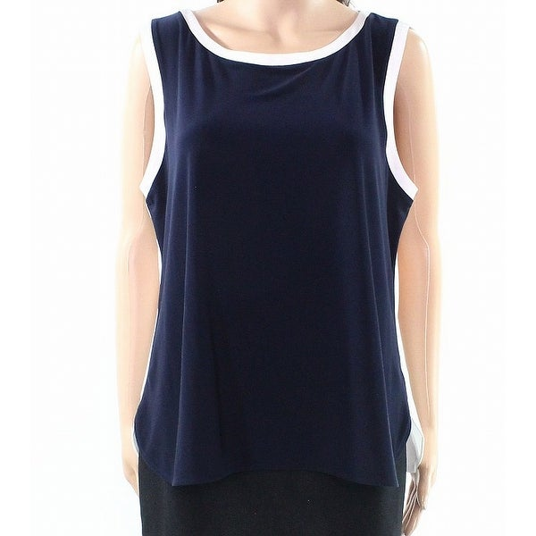 e2a0cc1ea32eb9 Shop Tommy Hilfiger NEW Navy Blue White Womens Size XL Colorblock Tank Top  - Free Shipping On Orders Over $45 - Overstock - 21685032