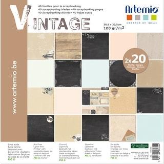 "Artemio Single-Sided Paper Pad 12""X12"" 40/Pkg-Vintage, 20 Designs/2 Each"