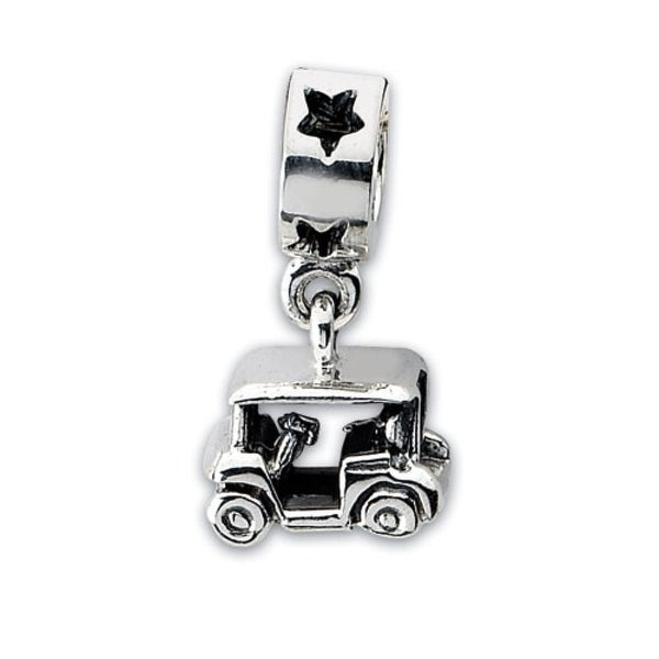 Sterling Silver Reflections Golf Cart Dangle Bead (4mm Diameter Hole)