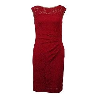 Lauren Ralph Lauren Women's Sleeveless Lace Ruched Sheath Dress - rivet red