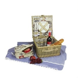 4-Person Hand Woven Warm Gray and Natural I love Paris Willow Picnic Basket Set with Accessories