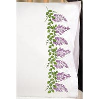 "Stamped Pillowcase Pair For Embroidery 20""X30""-Wisteria"