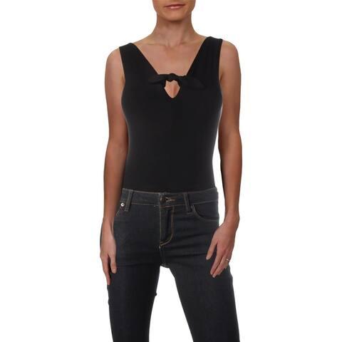 Aqua Womens Bodysuit Knot Front Sleeveless - Black