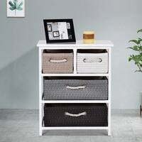 Gymax Storage Drawer Unit 4 Woven Basket Cabinet Chest Bedside Table Nightstand - as pic