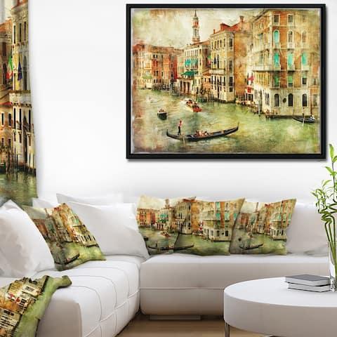 Designart 'Vintage Venice' Digital Art Landscape Framed Canvas Print