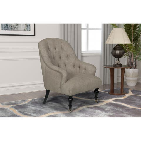 Soleil Tufted Back Upholstered Accent Chair with Front Caster