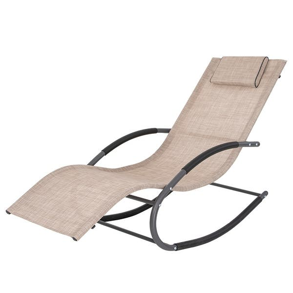 Tommy Bahama Outdoor Cushions, Shop Patio Rocking Chair Curved Rocker Chaise Lounge Chair With Pillow Overstock 31704643