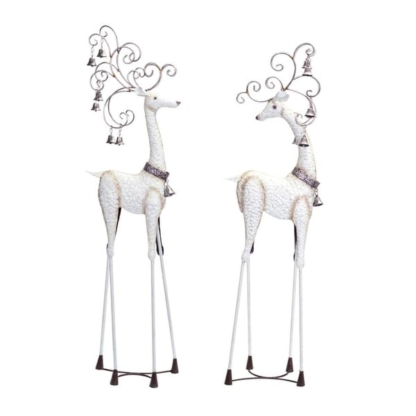 """Set of 2 White Rustic Finished Reindeer with Bells Holiday Figures 41.5"""""""