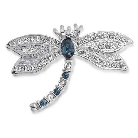 Dragonfly Brooch Pin Blue CZ Imitation Sapphire and Clear Cubic Zirconia Garden Insect Motif Rhodium Plated Brass