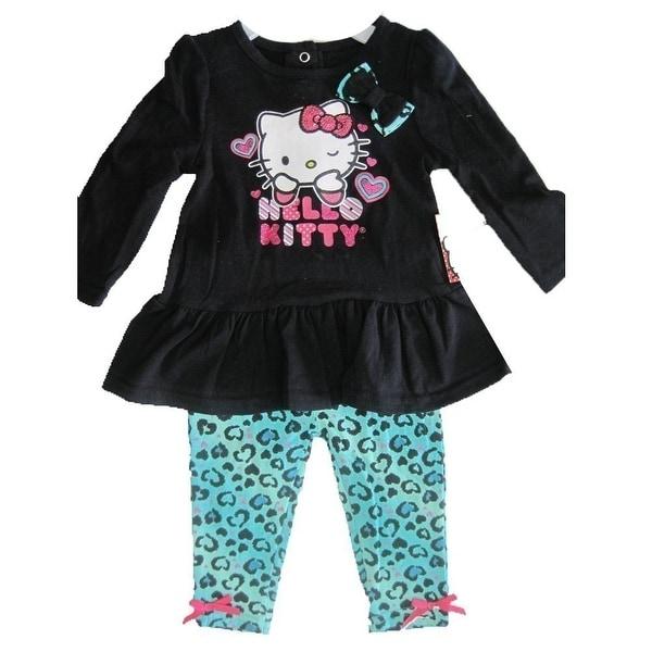 Hello Kitty Baby Girls Black Blue Leopard Spot Glittery Applique Dress 12M-24M