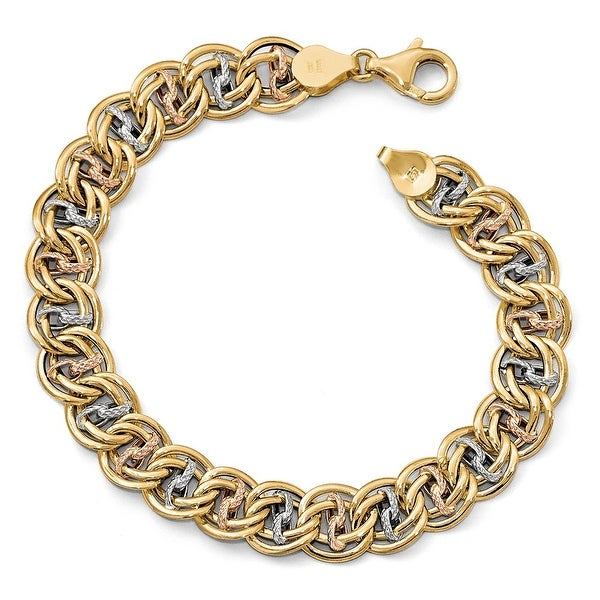 Italian 14k Tri-Color Gold Polished & Textured Fancy Link Bracelet - 7.75 inches
